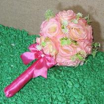 Buquê Bouquet Casamento Noiva Ou Daminha Rosas Redondo
