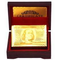 Baralho Dourado Com Caixa Certificado Ouro 24k Poker Truco