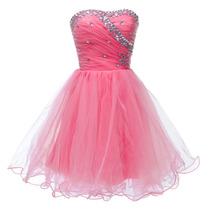 Vestido 15 Anos. Debutante. Curto. Rosa Ou Branco