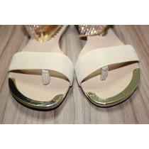 Sandália Marfim Com Detalhe Dourado E Estrass