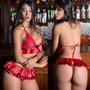 Lingerie Mulher Sex Gostosa Vermelha Fantasia Fogosa Sensual