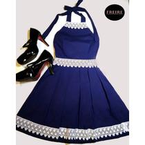 Vestido Princesa Azul Com Renda Branca! Frente Única R$69,90