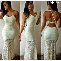 Vestido Longo Costa Nua Sereia Em Renda Panicat Fim De Ano