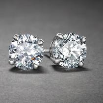 Brinco Solitário Diamante Zircônia Cúbica Prata 925