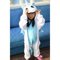 Pijama Macacão Infantil Plush Animal Desenho Unicornio Capuz