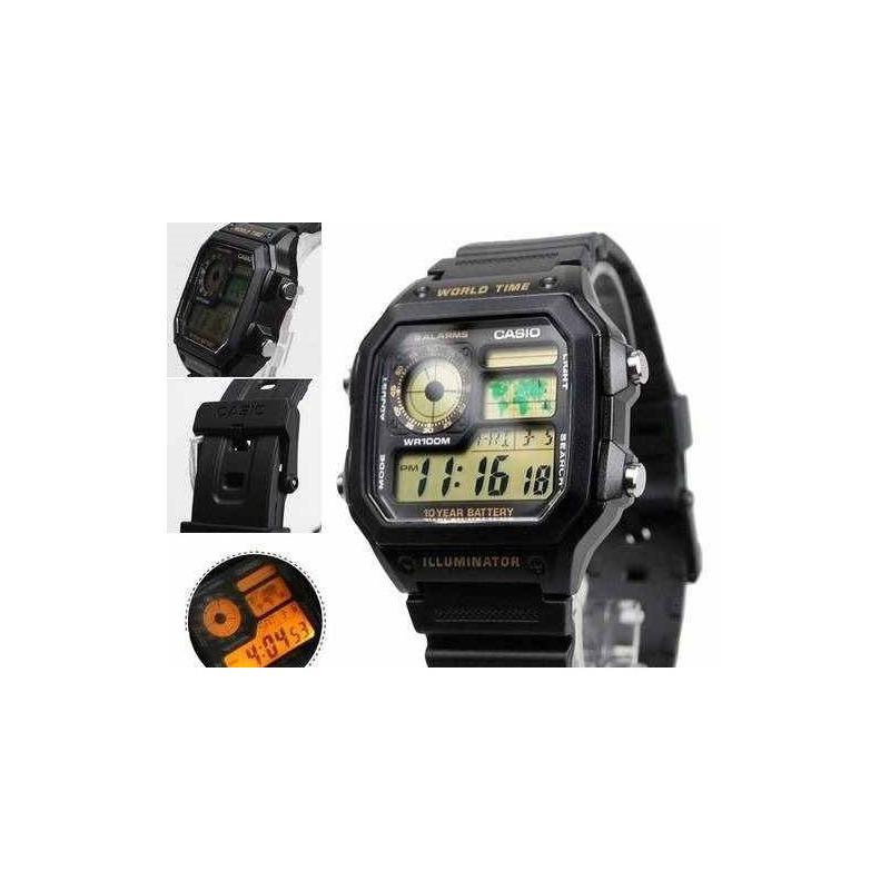 940fb3d855d Relogio Casio Ae-1200 Wh 1b Mp V H Mundial 5 Alarmes Wr100m em ...