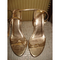 Sandalia Dourada C/ Salto Anabela Nº 38
