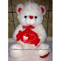 Pelúcia Urso Branco Com Vermelho Amor Grande 40cm Altura
