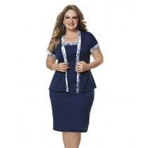 Moda Plus Size - Vestido E Casaquinho Azul Marinho