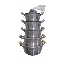Jogo De Panelas Alumínio Batido Fundido - Alça De Madeira