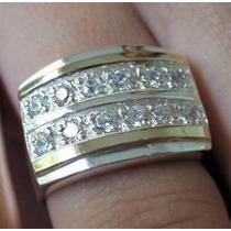 Anel Aliança Ouro Puro Prata Pura Diamante Sintético