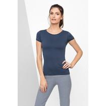 Blusa Baby Look Camiseta Fitness Feminina Live Workout Azul
