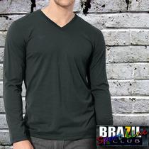 Camiseta Básica Gola V Manga Longa - 100% Algodão