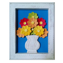 Quadro Madeira Com Flores Coloridas