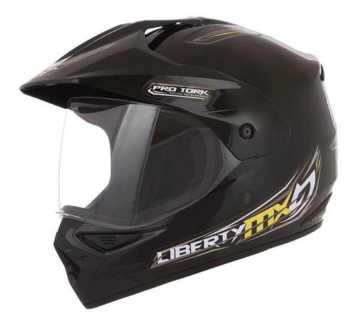 Capacete Para Moto Cross Pro Tork Liberty Mx Pro Vision Preto Tamanho 58