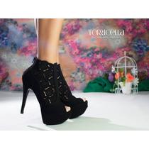Sapato Salto Alto Peep Toe Preto Trançado Lindo Exclusivo
