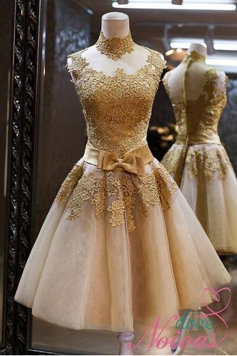Vestido Debutante Curto Dourado Balada à Venda Em Três