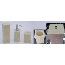 Kit Potes P/ Banheiro Acrílico Bege Marmorizado C/ Strass