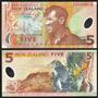 New Zealand Nova Zelândia P-185b Fe 5 Dollars 2009 Polímero
