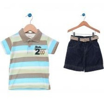 Polo Infantil E Bermuda Jeans