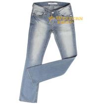 Calça Jeans Feminina Stretch Boot Cut Hiper Claro Dirt Com E