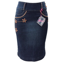 Saia Jeans Com Bordados (38 Ao 46) - Pura Flor