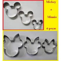 Cortador Mickey E Minnie 6pçs Inox Pequeno, Médio E Grande