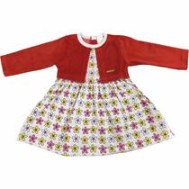Vestido Infantil De Meia Malha Com Bolero De Plush