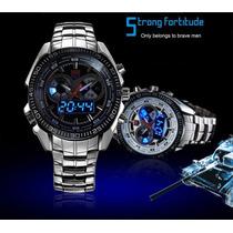 Relógio Tvg Sport Led Azul Aço Inox Prova Dagua *original*
