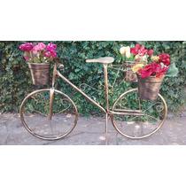 Bicicleta C/ Banquinho De Madeira Suporte Plantas Ouro Velho