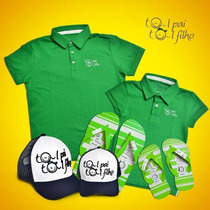 Kit Camisa Polo/chinelo/boné Tal Pai Tal Filho Por R$ 199,90