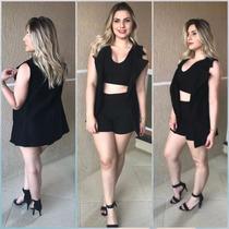 ac90755c17 Conjunto 3 Peças Cropped Shorts Cintura Alta Colete Blazer à venda ...