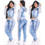 Conjunto Calça Jeans + Jaqueta Jeans Com Moletom E Capuz