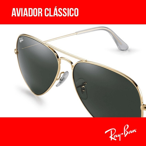 61386eb36 Ray Ban Aviador Rb3025 Verde G15 Original Garantia Envio 24h. R$ 220