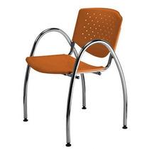 Cadeira Prisma Fixa Estrutura Apoia Braços Cromada Laranja