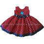 Vestido Festa Galinha Pintadinha Vermelho/marinho 1 A 4 Anos