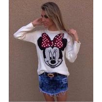 Blusa De Frio Feminina De Lã Trico Minnie Cardigans