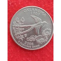 Moeda Usa Quarter Dollar Estados Americanos Oklahoma Let P