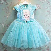 Vestido Festa Frozen Elsa Anna Luxo Frete Grátis