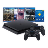 Playstation 4 Slim 1tb C\ 2 Controles + 3 Jogos - Ps4 Slim