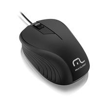 Mouse Multilaser Emborrachado Preto Com Fio Usb - Mo222