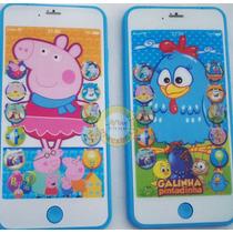 Lindo Celular Smart Brinq Galinha Pintatinha Peppa Pig Tela