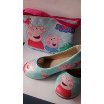 Sapatilha Infantil Peppa Feminina + Bolsa.calçados Sapato