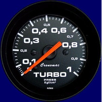 Manômetro Turbo 1kg Cronomac Linha Street Preto 52mm
