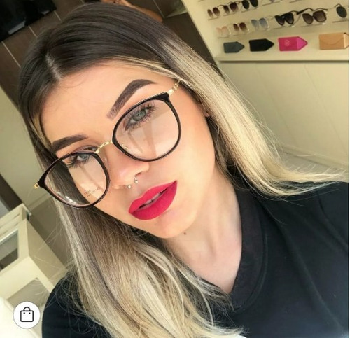 82a8fbab2 Óculos Sem Grau Feminino Armação Redonda Lente Clara Falsa. R$ 19.59