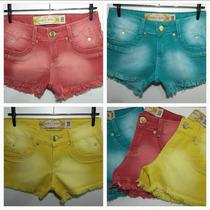 Short Jeans Feminino Cos Alto Colorido