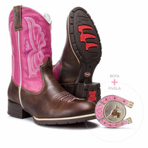 Kit Rosa Bota Feminina Texana Country Western E Fivela Rodeo