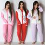 Pijama Longo Adulto Feminino Blusa Aberta Botões E Calça 014