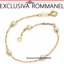 Rommanel Pulseira Fio Cartier Perolas 4mm Banho Ouro 550687