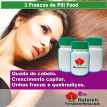 3 Frascos De Pill Food Estimula O Crescimento Capilar - 72